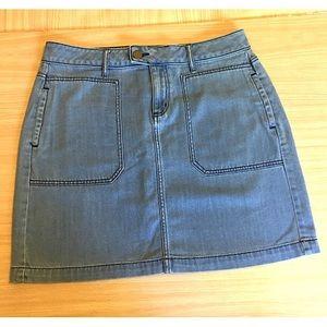 Loft Denim Light Wash Utility Skirt Size 12